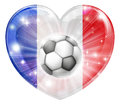 France soccer heart flag football ball love concept with the french in a shape and a ball flying out Stock Images