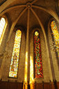 France, stained glass window in the church of Les Mureaux Royalty Free Stock Photo