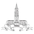 France symbol toulouse landmark sketch basilica of saint sernin south roman architectural style church travel Stock Photography
