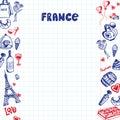 France Symbols Pen Drawn Doodles Vector Collection
