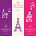 France Touristic Vertical Vector Web Banners Royalty Free Stock Photo