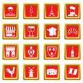 France travel icons set red