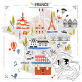 France travel map Royalty Free Stock Photo