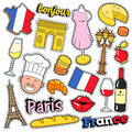 France Travel Scrapbook Stickers, Patches, Badges for Prints with Kiss, Champagne and French Elements Royalty Free Stock Photo