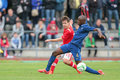 France vs austria u traiskirchen june louis schaub and antoine conte fight for the ball during the game on june in Royalty Free Stock Photo
