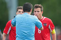 France vs austria u traiskirchen june marcel sabitzer and christian gartner argue with referee stavros tritsonis greece during Stock Images
