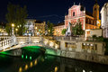 Franciscan Church of the Annunciation and the Triple Bridges  in Royalty Free Stock Photo