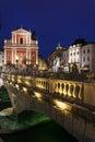 Franciscan church and triple bridge ljubljana slovenia Royalty Free Stock Photo