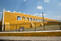 Franciscan monastery in izamal yucatan mexico san antonio de padua has been built from demolished mayan pyramid material Stock Images