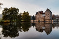 Franconian water castle brennhausen in the morning shot in november on a warm morning Stock Photo