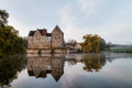 Franconian water castle brennhausen in the morning shot in november on a warm morning Royalty Free Stock Image