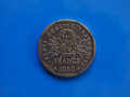 2 francs coin, France over blue Royalty Free Stock Photo