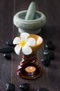 Frangipani spa aroma therapy treatment hot rocks Royalty Free Stock Images