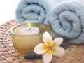 Frangipani and spa objects Royalty Free Stock Photography