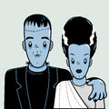 Frankenstein and bride Royalty Free Stock Photo