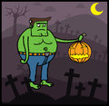 Frankenstein in Halloween night Stock Photo