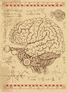 Frankentsein Diary with mechanical human brain, eye and math formulas Royalty Free Stock Photo