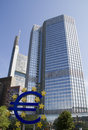 Frankfurt euro sign in front of the european central bank in germany Stock Images