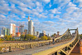 Frankfurt iron bridge am main germany june view of the financial district and the eiserner steg the built in is a Royalty Free Stock Photos