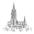 Frankfurt landmark germany travel icon sketch dom cathedral am main german symbol isolated Stock Images