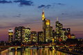 Frankfurt am Main, Germany in the twilight Stock Photography