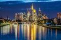 Frankfurt am Main skyline at dusk, Germany Royalty Free Stock Photo