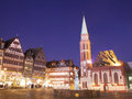Frankfurt at night romer in am main city germany scene Royalty Free Stock Photography