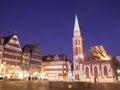 Frankfurt at night romer in am main city germany scene Royalty Free Stock Photography