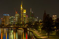 Frankfurt night scene germany september skyline of am main at Royalty Free Stock Images