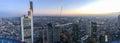 Frankfurt night skyline, panoramic aerial view Royalty Free Stock Photo