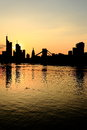Frankfurt silhouette am main skyline at sunset Stock Photos