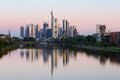 Frankfurt skyline in germany the morning Royalty Free Stock Images