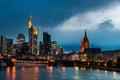 Frankfurt Skyline, Germany at night Royalty Free Stock Photo
