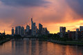 Frankfurt skyline in germany during sunset Stock Photos