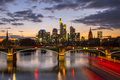 Frankfurt skyline am main river view with office buildings germany Royalty Free Stock Photo