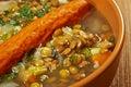 Frankfurter linsensuppe german lentil soup with sausage farmhouse kitchen Stock Photo
