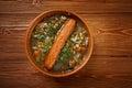 Frankfurter linsensuppe german lentil soup with sausage farmhouse kitchen Stock Images