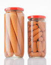 Frankfurters preserved in glass jar Stock Photos