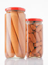 Frankfurters preserved in glass jar Stock Photo