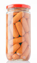 Frankfurters preserved in glass jar Royalty Free Stock Photo