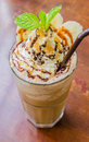 Frappe coffee with banana and wip cream Stock Image