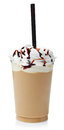 Frappe coffee covered with whipped cream in plastic glass isolated on white background Royalty Free Stock Photography