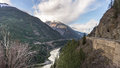 The fraser canyon a thoroughfare to the west views of rugged as it winds its way from rocky mountains pacific ocean is major Royalty Free Stock Photography