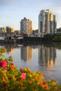 Fraser River, New Westminster Skyline, BC vertical Royalty Free Stock Photo