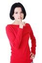 Frau die ein haltung es ruhegeste macht Lizenzfreies Stockfoto