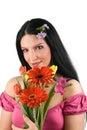 Frau mit Frühling blüht Blumenstrauß Stockfotos