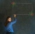 Frau student oder lehrer mit dem schreibenszeichnung weihnachtsstechpalmenmenü zum der checkliste zu tun Lizenzfreie Stockbilder