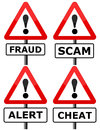 Fraud signs warning for and scams Stock Photo