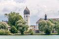 Frauenchiemsee bell tower on germany Royalty Free Stock Photos