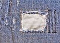 Frayed blue jeans closeup Royalty Free Stock Photo